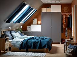 Image Wardrobe Blue Beige Grey And White Bedroom With Sloped Ceiling And Platsa Wardrobe Ikea Bedroom Furniture Ideas Ikea