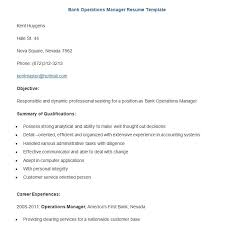 Bank Operations Manager Resume Template Download