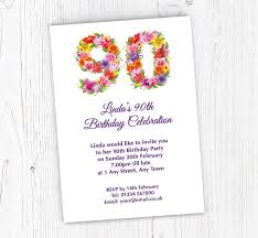 90 Birthday Party Invitations Floral 90th Birthday Party Invitations