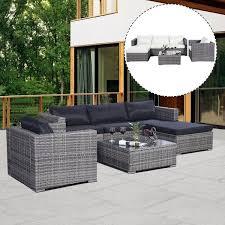 Costway 6PC Furniture Set Patio Sofa PE Gray Rattan Couch 2 Set