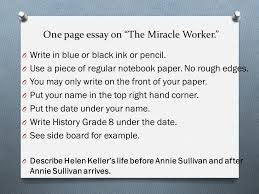 reform culture unit warm up define the following these  one page essay on the miracle worker o write in blue or black ink or