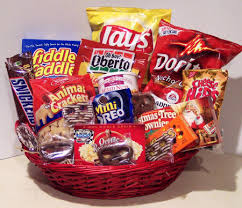 huge junk food gift basket filled with name brand chips cookies candy and