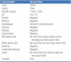 Urinalysis Normal Values Chart Normal Urinalysis Results Nursing Students College