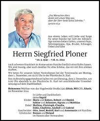 Siegfried Ploner Todesanzeige Vn Todesanzeigen