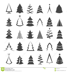Simple Christmas Tree Icons Stock Vector Illustration Of Merry