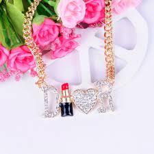 Love Letters Inspiration Fashion Retro Women Jewelry Full Rhinestone Letter D R Lipstick