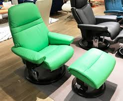 stressless sunrise paloma summer green color leather recliner and ottoman
