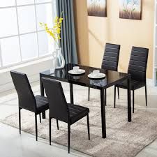 5 Piece Dining Table Set For 4 Chairs Metal Glass Kitchen Furniture