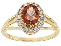 peach oregon sunstone 10k yellow gold ring 1 24ctw