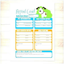 Free Business Report Card Pet Report Card Template Pet Sitting Report Card Template Free