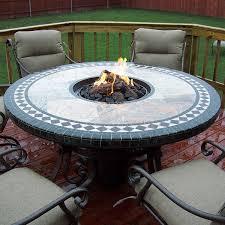 mosaic round gas fire pit table 60 signature living woodlanddirect com
