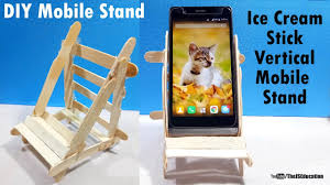 vertical mobile stand from ice cream sticks