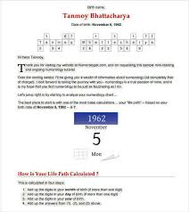 Numerology Chart Numerology Chart Template 8 Numerology Chart Templates For