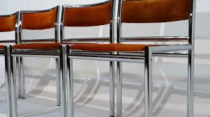 midcentury dining chairs in tubular chrome and leather set of