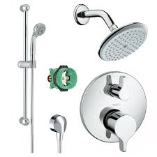 hansgrohe rain shower faucet kit with handshower wallbar pbv trim diverter and rough