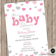 Valentines Day Invitations Inspiration Pink And Gray Baby Shower Invitation Heart Baby Shower Invitation