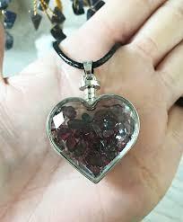 garnet glass heart pendant necklace