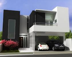 Interior, Minimalist Home Design Facade White Wall Square Glass Window  Black Wall Car Garage Stainless