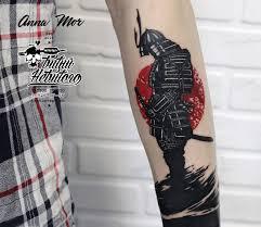 японская тату ориентал воин цветная
