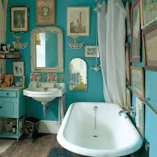 this deliriously crazy disheveled turquoise bathroom belongs to jo kornstein a designer in london via absolutelybeautifulthings