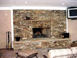 faux stone panels fireplace