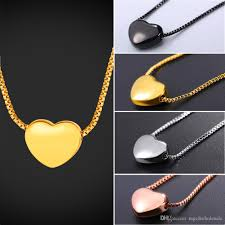 whole u7 tiny heart necklace gold rose gold black silver color box chain delicate small heart charm necklace gift for her gp2775 best friend necklaces