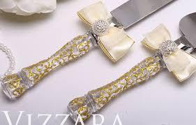 wedding Server Set Gold wedding Hand PAINTED cake knife