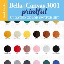 Printful Color Guide Bella Canvas 3001 Color Chart Mockup Printful 3001 T Shirt Color Guide Color Showcase For Bella Canvas Colors
