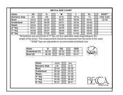 Becca Size Chart South Beach Swimsuits