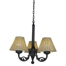 black versailles outdoor chandelier with stone wicker shade