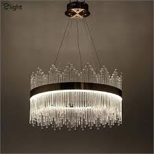 post modern luxury crystal led pendant light re gold foyer metal ring lamp hanging malaysia