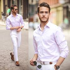 Light Pink Shirt White Pants White Pants Men Jeans