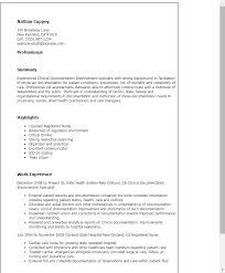 Resume Templates: Clinical Documentation Improvement Specialist