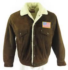 80s levis trucker sherpa suede jacket h62w 1
