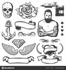 урожай эскиз татуировки Studio элементы векторное изображение