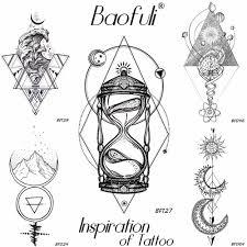 геометрия ромбовидной временный мужской татуировки Galaxy Moon Star