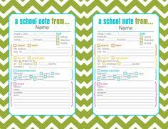 Handy Dandy Absence Note Form For Parents! | Classroom Management ...