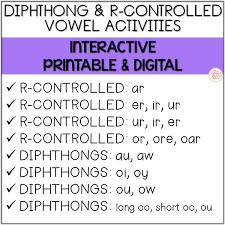 Phonics teaches a student to read by using the sounds of the letters in a word. R Controlled Vowels And Diphthong Printable Digital Phonics Activities Mrs Winter S Bliss
