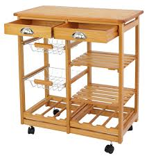 rolling wood kitchen island trolley cart dining storage drawers stand durable 1 of 9free