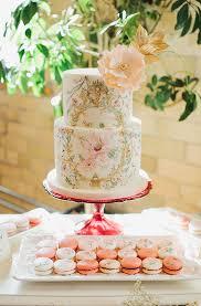 indoor garden party bridal shower peach wedding cake