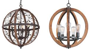 wooden orb 4 light chandelier rustic sphere globe kitchen dining wood creative of fixture good wood
