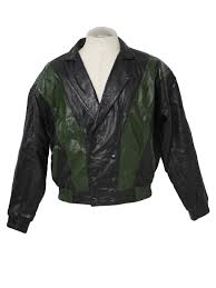 dyesi 1980s vintage leather jacket 80s dyesi mens black and green leather jacket with narrow collar and lapel diagonal stripe pattern double ted
