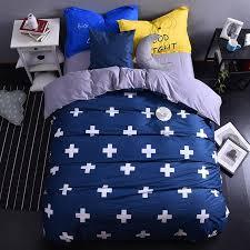 whole navy blue cross modern cotton bedding set king queen size doona duvet cover bed sheet pillow cases bed linen set bedding duvet boys bedding set