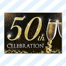 50th Anniversary Party Invitations A6 Cards Birthday Party Invitations Invites Anniversary Celebration With Envelopes 50th Celebration 1 Sample Card 1 Envelope