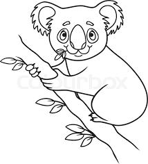 cartoon koala coloring book vector ilration of cute doodle koala vector