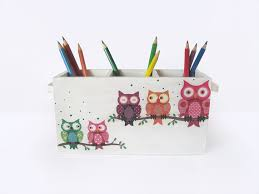owl office decor. owl pencil holder funny colorful desk caddy wooden organizer kids office decor l