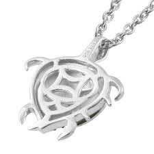 blue diamond ir platinum over sterling silver accent turtle pendant with stainless steel chain