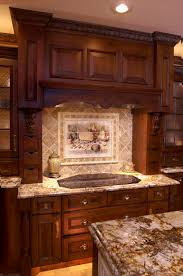 Dark Wood Cabinets In Kitchen Kitchen Backsplash Mural With Dark Wood Kitchen Cabinets