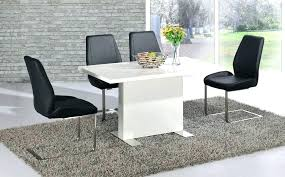 high gloss dining table white and chairs black set leather