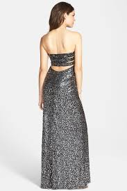 Hailey Logan By Adrianna Papell Sequin Strapless Gown Sz 3 4